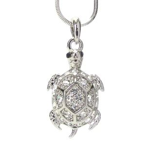 Jewelry - White gold plated crystal sea turtle necklace